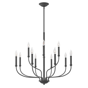 Alister Buckeye Bronze 32-Inch Twelve-Light Two Tier Chandelier
