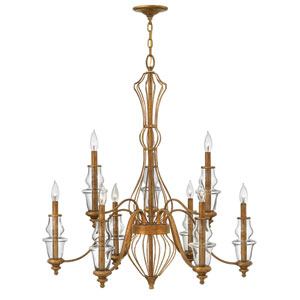 Celine Antique Gold Leaf Nine-Light Chandelier