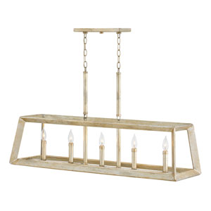 Tinsley Silver Leaf Five-Light Linear Pendant