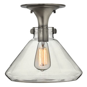 Congress Antique Nickel 12-Inch Hand Blown Clear Glass One-Light Semi Flush Mount