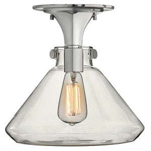 Congress Chrome 12-Inch Hand Blown Clear Glass One-Light Semi Flush Mount