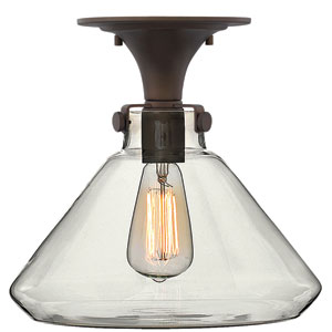Congress Oil Rubbed Bronze 12-Inch Hand Blown Clear Glass One-Light Semi Flush Mount