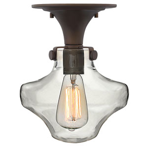 Congress Oil Rubbed Bronze 11-Inch Hand Blown Clear Glass One-Light Semi Flush Mount