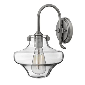 Congress Antique Nickel 13-Inch Hand Blown Clear Glass One-Light Sconce