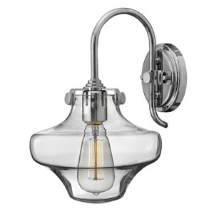 Congress Chrome 13-Inch Hand Blown Clear Glass One-Light Sconce