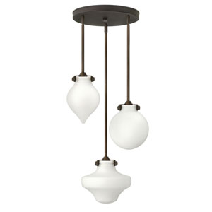 Congress Oil Rubbed Bronze Three-Light Pendant with Frosted Glass