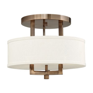 Hampton Brushed Bronze 15-Inch Semi-Flush Ceiling Light