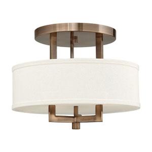 Hampton Brushed Bronze Three Light LED Semi-LED Flush Mount