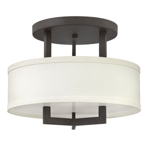 Hampton Buckeye Bronze 15-Inch Three-Light Semi-Flush Mount