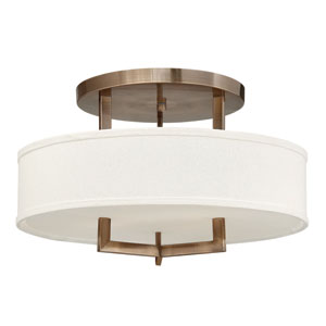 Hampton Brushed Bronze 20-Inch Three-Light Semi-Flush Mount