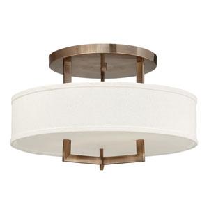 Hampton Brushed Bronze 12-Inch LED Three Light Semi Flush Mount