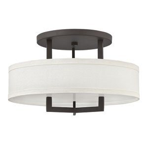Hampton Buckeye Bronze 20-Inch Three-Light Semi-Flush Mount