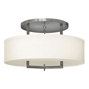 Hampton Antique Nickel 26-Inch Three-Light Semi-Flush Mount