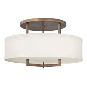 Hampton Brushed Bronze Three-Light Semi-Flush