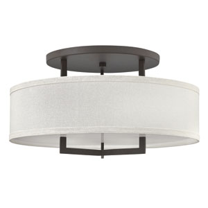 Hampton Buckeye Bronze 26-Inch Three-Light Semi-Flush Mount
