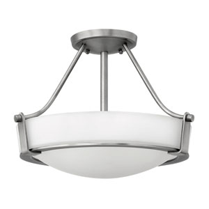 Hathaway Antique Nickel 16-Inch Three-Light Semi-Flush Mount