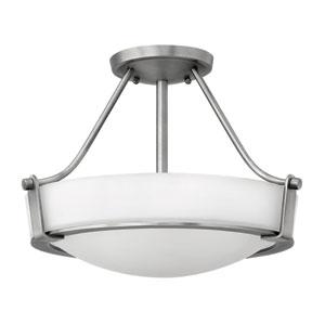 Hathaway Antique Nickel Two Light LED Semi-LED Flush Mount