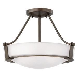 Hathaway Olde Bronze Three-Light Semi-Flush Mount