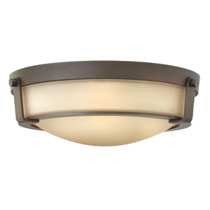 Hathaway Olde Bronze 16-Inch Three-Light Flush Mount with Etched Amber Glass