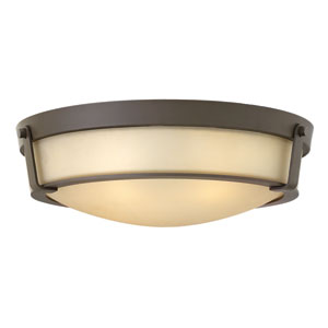 Hathaway Olde Bronze 21.5-Inch Four-Light Flush Mount with Etched Amber Glass