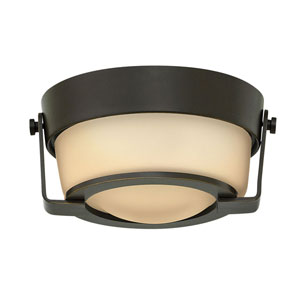 Hathaway Olde Bronze 7-Inch LED Flush Mount with Amber Shade
