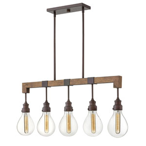 Denton Industrial Iron Five-Light Linear Pendant