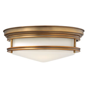 Hadley Brushed Bronze 14-Inch Three-Light Flush Mount