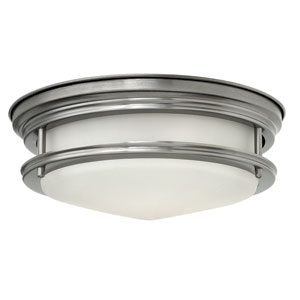 Hadley Antique Nickel Two Light Flush Mount