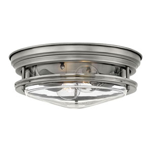 Hadley Antique Nickel 12-Inch Two-Light Flush Mount