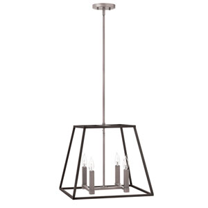 Fulton Aged Zinc 18-Inch Four-Light Foyer Pendant