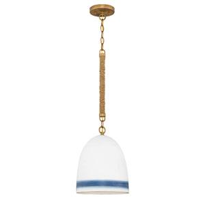 Nash Heirloom Brass with Navy Stripe One-Light Pendant