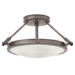 Collier Antique Nickel 17-Inch Three-Light Semi-Flush Mount