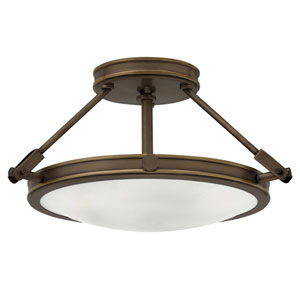 Collier Light Oiled Bronze 17-Inch Three-Light Semi-Flush Mount