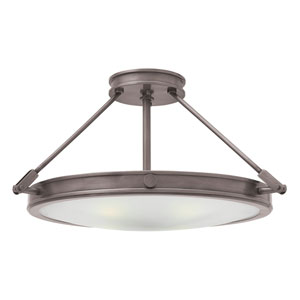 Collier Antique Nickel 22-Inch Four-Light Semi-Flush Mount