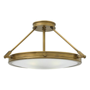 Collier Heritage Brass 22-Inch Four-Light Semi-Flush Mount