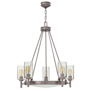 Collier Antique Nickel 27-Inch Five-Light Single Tier Chandelier