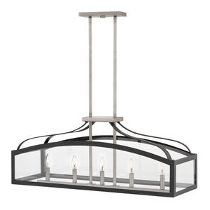 Clarendon Aged Zinc Five-Light Linear Pendant