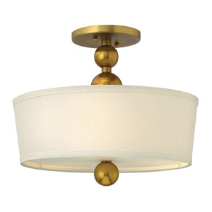 Zelda Vintage Brass Three-Light Semi-Flush Light Fixture