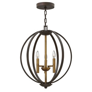 Euclid Spanish Bronze Three-Light Foyer Pendant