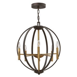 Euclid Spanish Bronze Six-Light Pendant