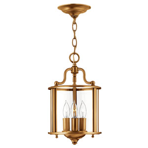 Gentry Heirloom Brass Three-Light Foyer Pendant