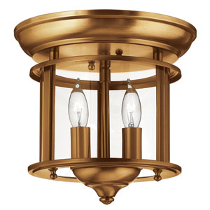 Gentry Heirloom Brass 9.5-Inch Two-Light Flush Mount