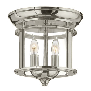 Gentry Polished Nickel 9.5-Inch Two-Light Flush Mount