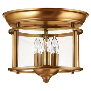 Gentry Heirloom Brass 11.5-Inch Three-Light Flush Mount