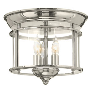 Gentry Polished Nickel 11.5-Inch Three-Light Flush Mount