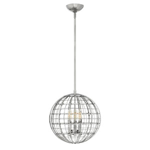 Terra Polished Nickel 13-Inch Three-Light Single Tier Globe Pendant