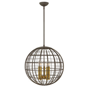 Terra Oiled Bronze 19-Inch Five-Light Single Tier Pendant