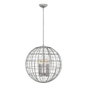 Terra Polished Nickel 19-Inch Five-Light Single Tier Globe Pendant
