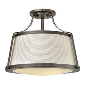 Charlotte Antique Nickel Three-Light Semi Flush