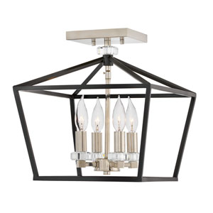 Stinson Black Four-Light Semi-Flush Mount